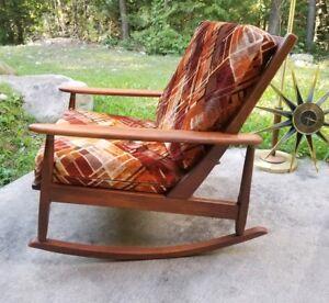 danish modern rocking chair hammock stand canadian tire ebay vintage midcentury walnut rocker mod velvet cushions