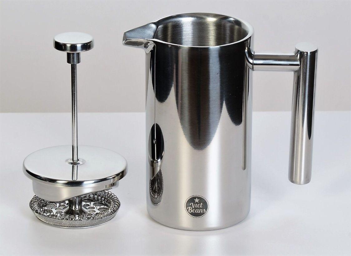 VietBeans French Press – Doppelwandiger Kaffeebereiter aus Edelstahl - 350 ml