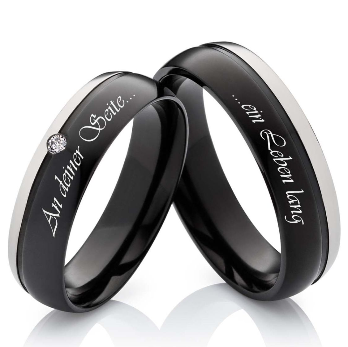 2 Eheringe Verlobungsringe aus Titan schwarz mit Zirkonia und Lasergravur  H116