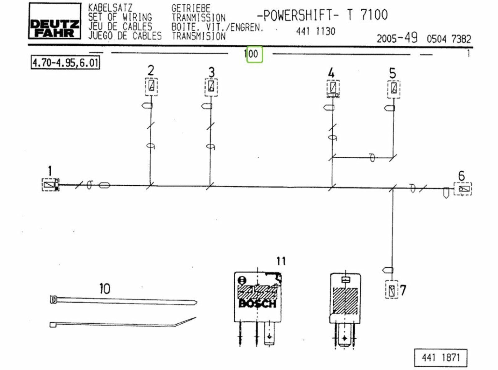 Kabelbaum Getriebe Deutz-Fahr Agrotron 4.85, 6.01, 90 ,100