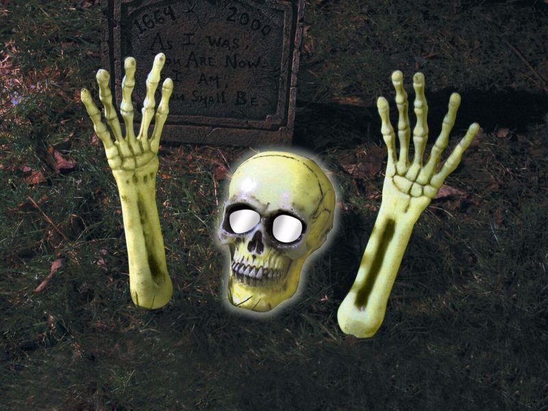 Skeleton Coming Out of Ground Light Up Halloween Outdoor Yard Decoration Prop