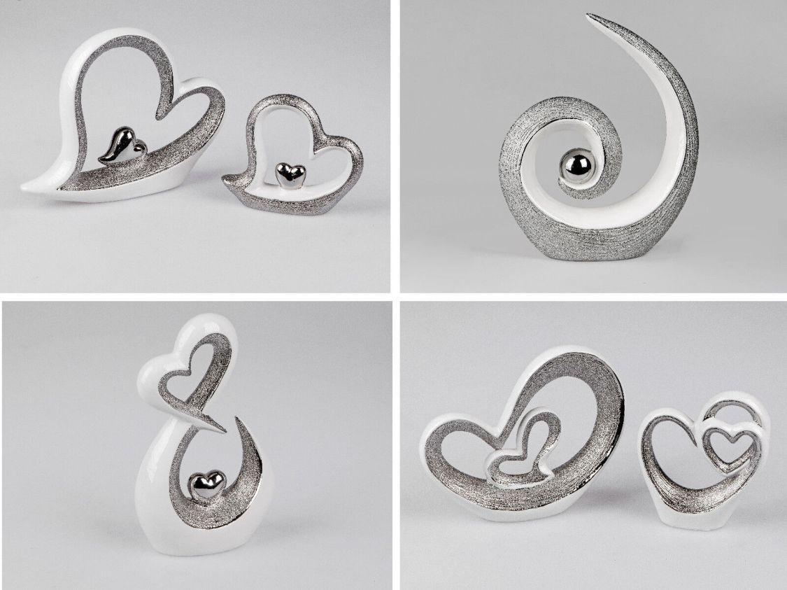 Deko Objekt Skulptur Herzskulptur Serie Edelweiss weiss - silber Relief Formano