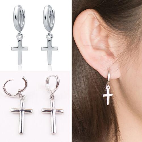 CHIC Men Women Stainless Steel Dangle Cross Ear Stud Hoop