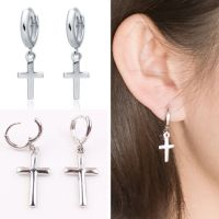 CHIC Men Women Stainless Steel Dangle Cross Ear Stud Hoop