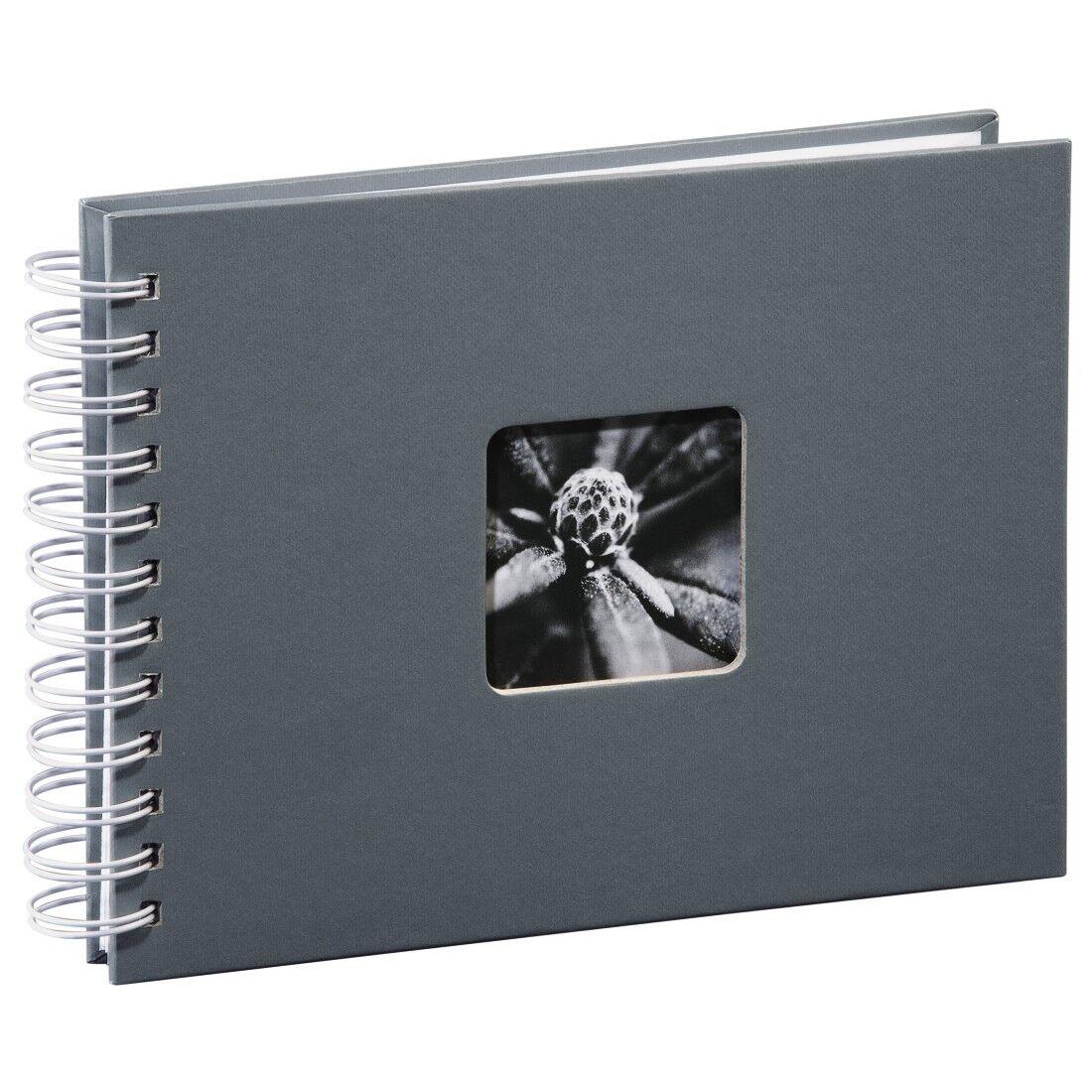 Hama Spiral-Album Grau Fine Art Fotoalbum 24x17cm 50 weiße Seiten für 10x15cm