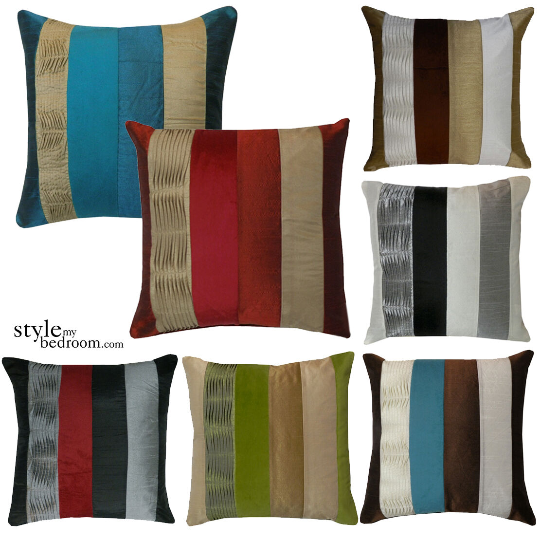 Striped Panel Suede Amp Ruffle Filled Stripe Cushions Or