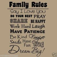Family Rules Wall Decal Quote Inspirational Home Decor ...