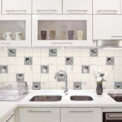 Vinyl Wallpaper Kitchen Backsplash Cabinet Shelf Inserts Fine Decor Fd13032 Luxury Tile Effect