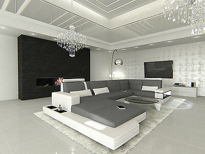 Stoff Sofa Luxus Wohnlandschaft MESSANA U Form mit Ottomane + LED Beleuchtung