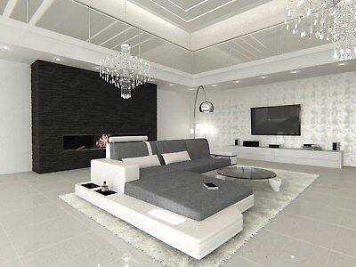 Sofa MESSANA L Form Stoffsofa mit LED Beleuchtung Designer Ecksofa Recamiere