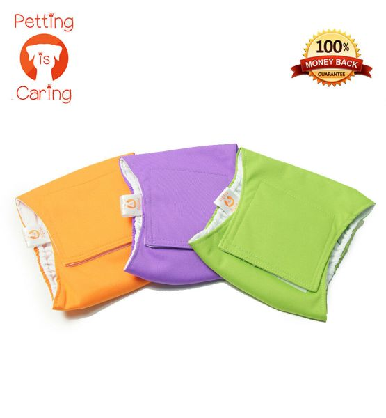 MALE DOG Belly Band WRAPS WASHABLE by PETTING IS CARING - Set Pack 3 of units  1