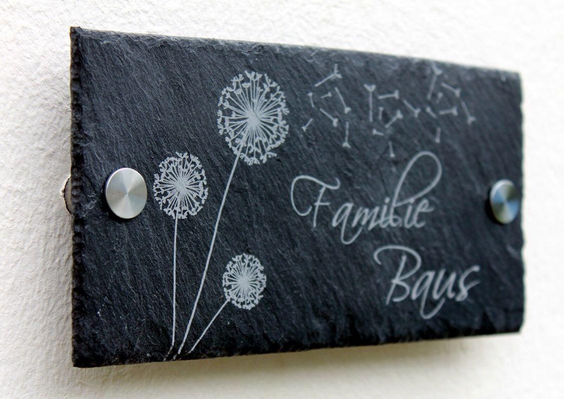 Türschild inkl. Gravur Namensschild Schiefer Klingelschild 20x10-40x30 cm #0060