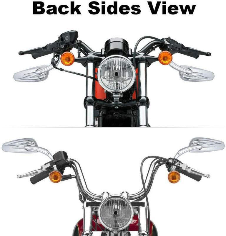 Chrome Billet Teardrop Rearview Side Mirrors For Harley