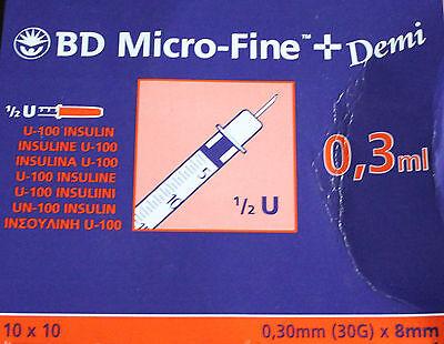 100 BD Micro-Fine+ Insulinspritzen Demi, 0,3mm (30G) x 8mm, 0,3ml, U 100 Insulin