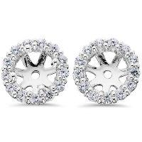 14K White Gold 1/2ct. Diamond Earring Jackets