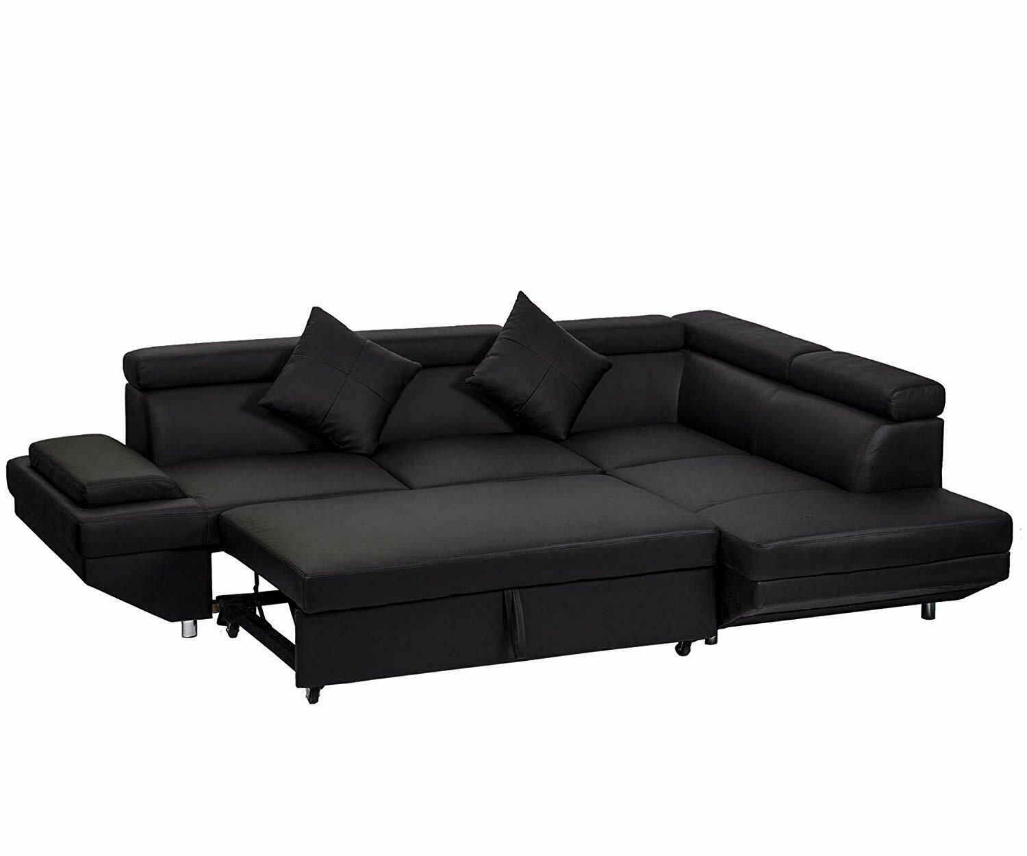 Contemporary Sectional Modern Sofa Bed Black Wit In Home Garden Furniture Sofas Loveseats Chaises Ebay For Blanja