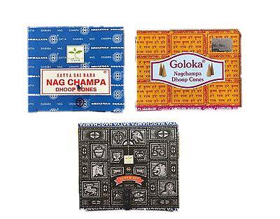Nag Champa, Goloka, Super Hit, Golden Nag Chandan - Indische Räucherkegel, Neu
