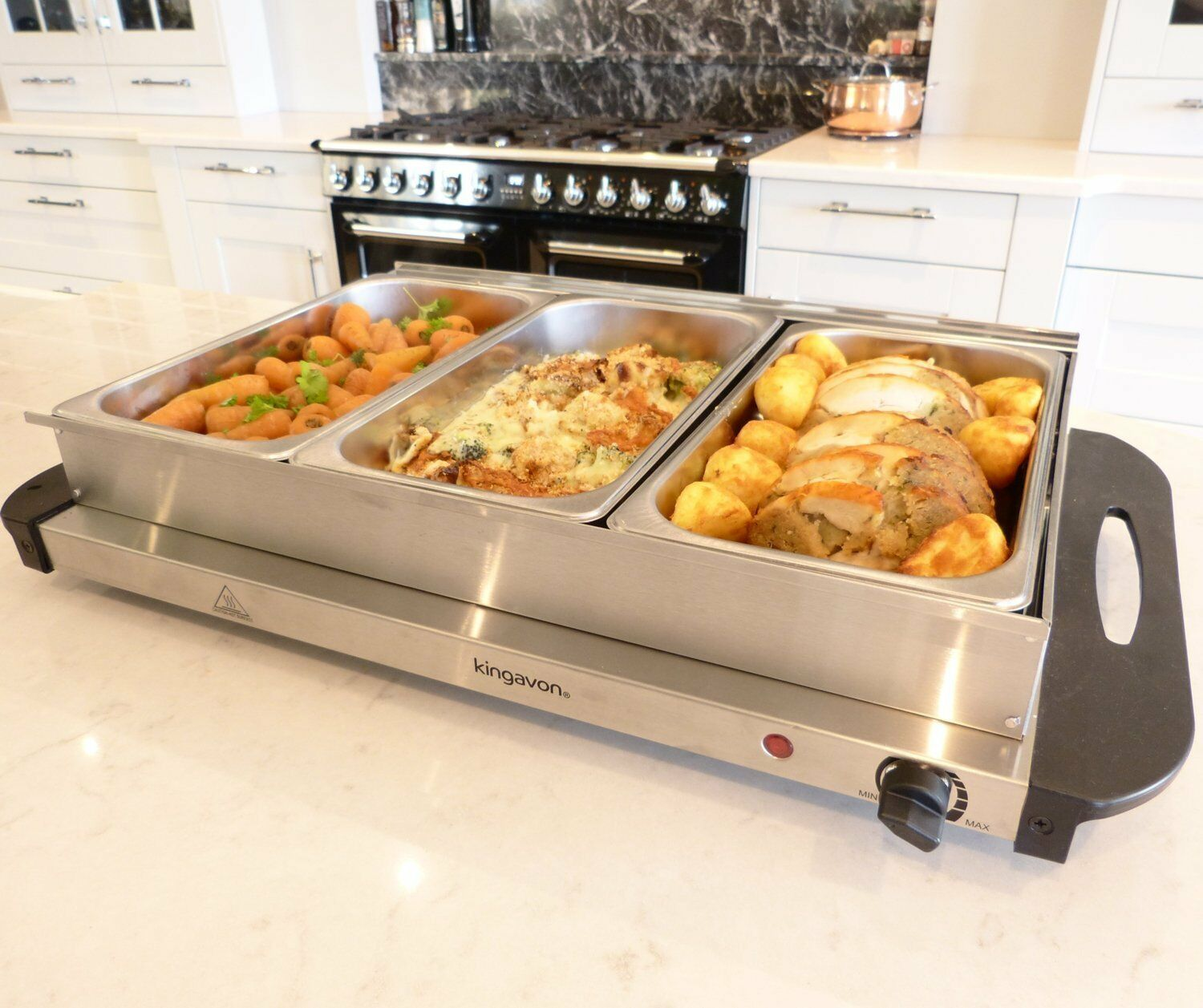 300w Stainless Steel 3x 2.5l Pan Large Buffet Food Server