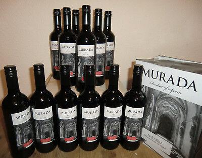 (7,00€ /1l) 12 Fl. 2015er Murada guter spanischer Tempranillo Rotwein trocken