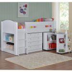 Frankie Childrens Mid Sleeper Cabin Bed Pull Desk Chest Shelves Various Colours