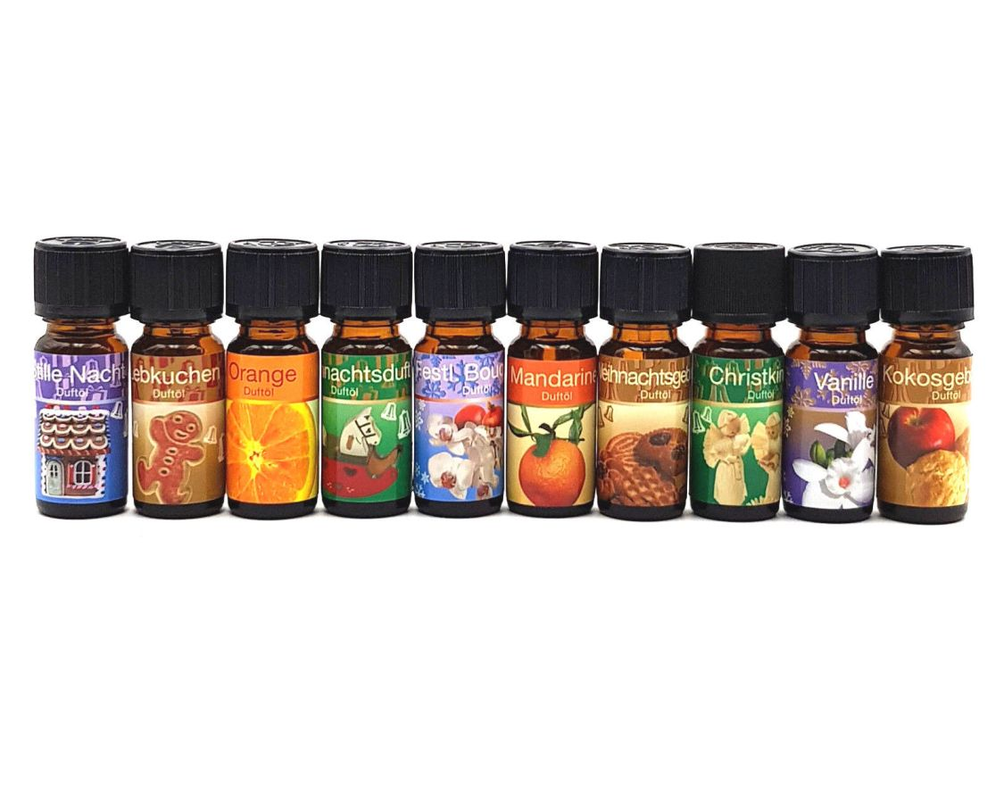 10er Set ätherisches Duftöl Advent Weihnachtsduft Aromaöl 10x10 ml Raumduft