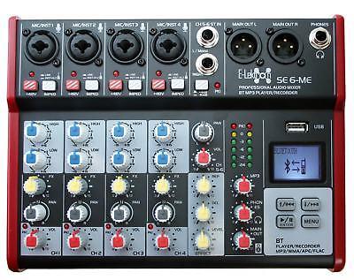 E-Lektron SE-6 Live Mischpult 4-Kanal + stereo AUX + USB/Bluetooth + Soundkarte