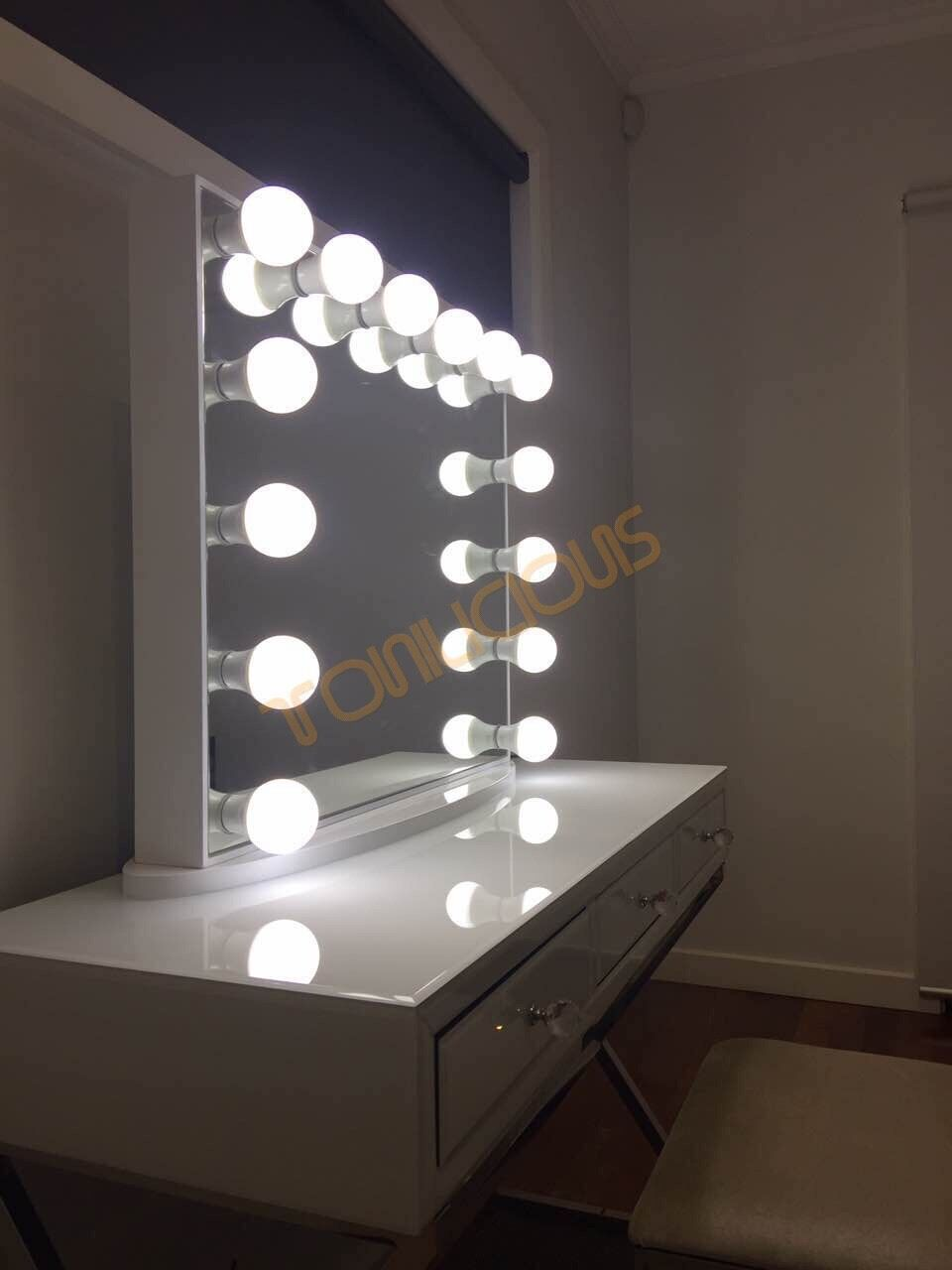 L Frameless White Hollywood Vanity Beauty Makeup Mirror