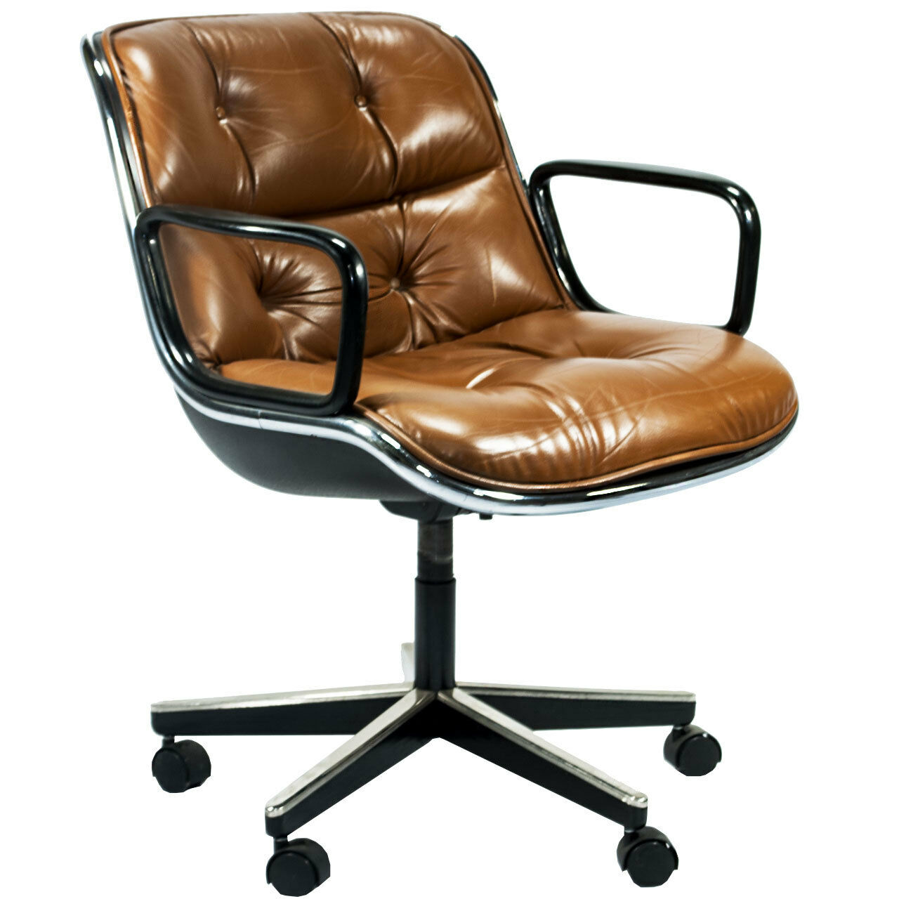 pollock executive chair replica large dining room cushions mid century charles knoll leather swivel office ebay