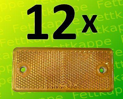 12x Rückstrahler gelb zum Schrauben 90x40mm Prüfzeichen Seitenstrahler Reflektor