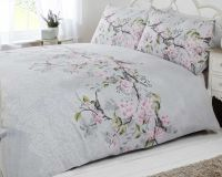 bird blossom floral duvet quilt cover bedding set grey ...