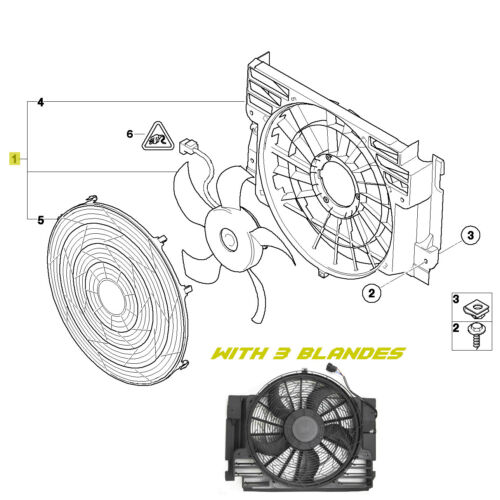 A/C AC Radiator Condenser Cooling Fan for BMW X5 E53 2000