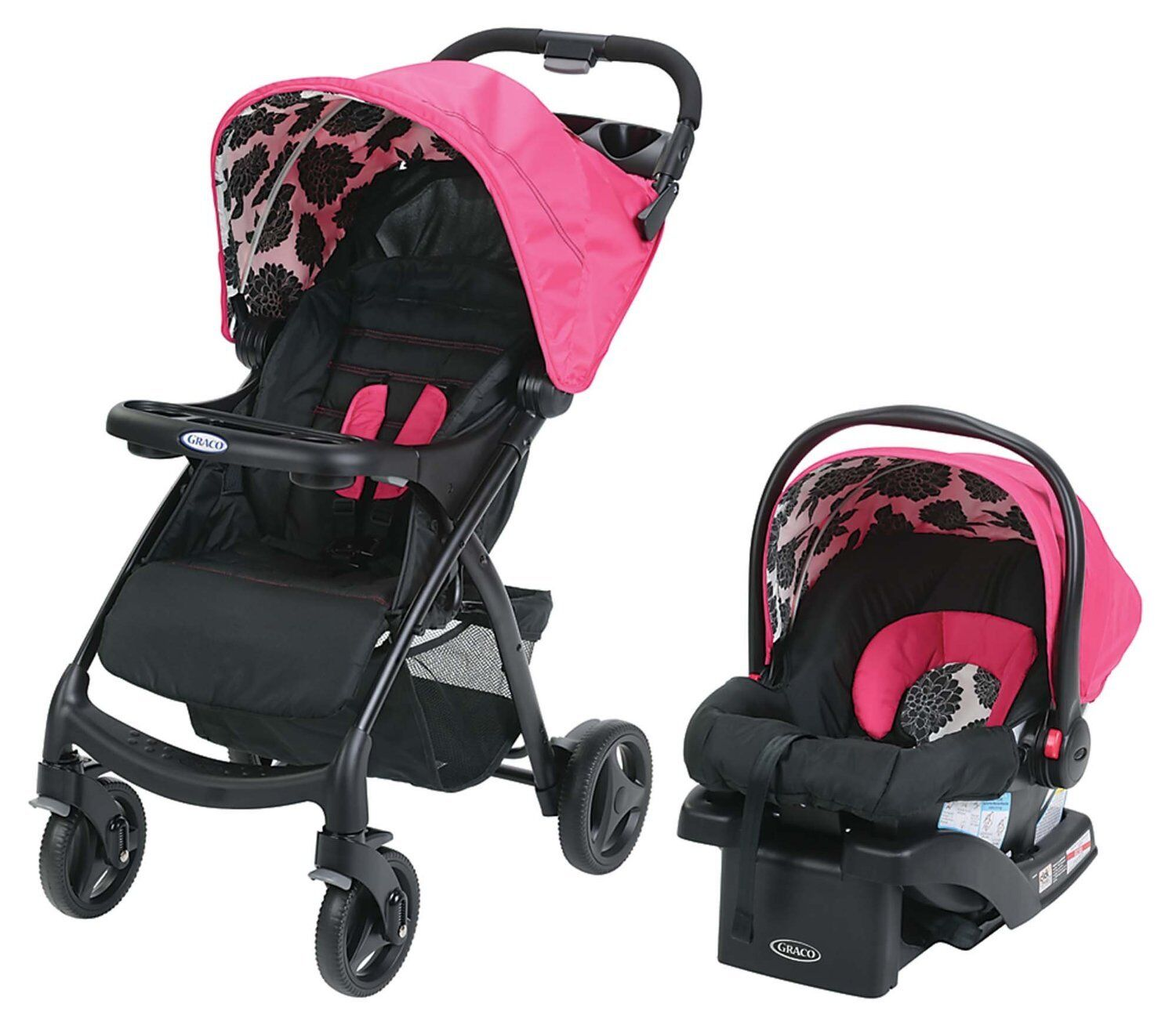 Graco Verb Click Connect Stroller Travel System Snugride Infant Car Seat Azalea