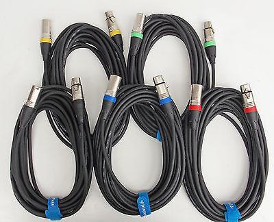 Mikrofon Kabel XLR DMX Kabel OFC-Kupfer Set mit 2x10m + 3x7,5m inkl. Kabelklett