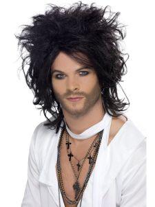 Mens Long Black Rocker Wig Big Messy Hair 80s Grunge Rock Halloween Adult Wavy