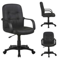 Desk Chair Ebay Uk Rentals Sacramento Comfortable Office Adjustable Swivel Comfort Pu Leather Pad Mid Back Computer New