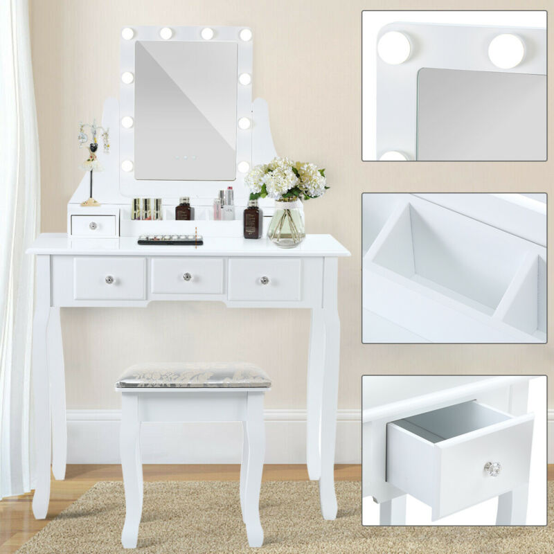 dressing makeup table stool set vanity set w 10led mirror 5 drawers bedroom nh