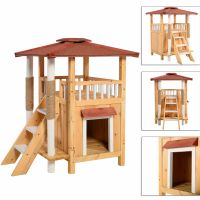 Cat House Pet Shelter Roof Condo Wood Steps Balcony Puppy ...
