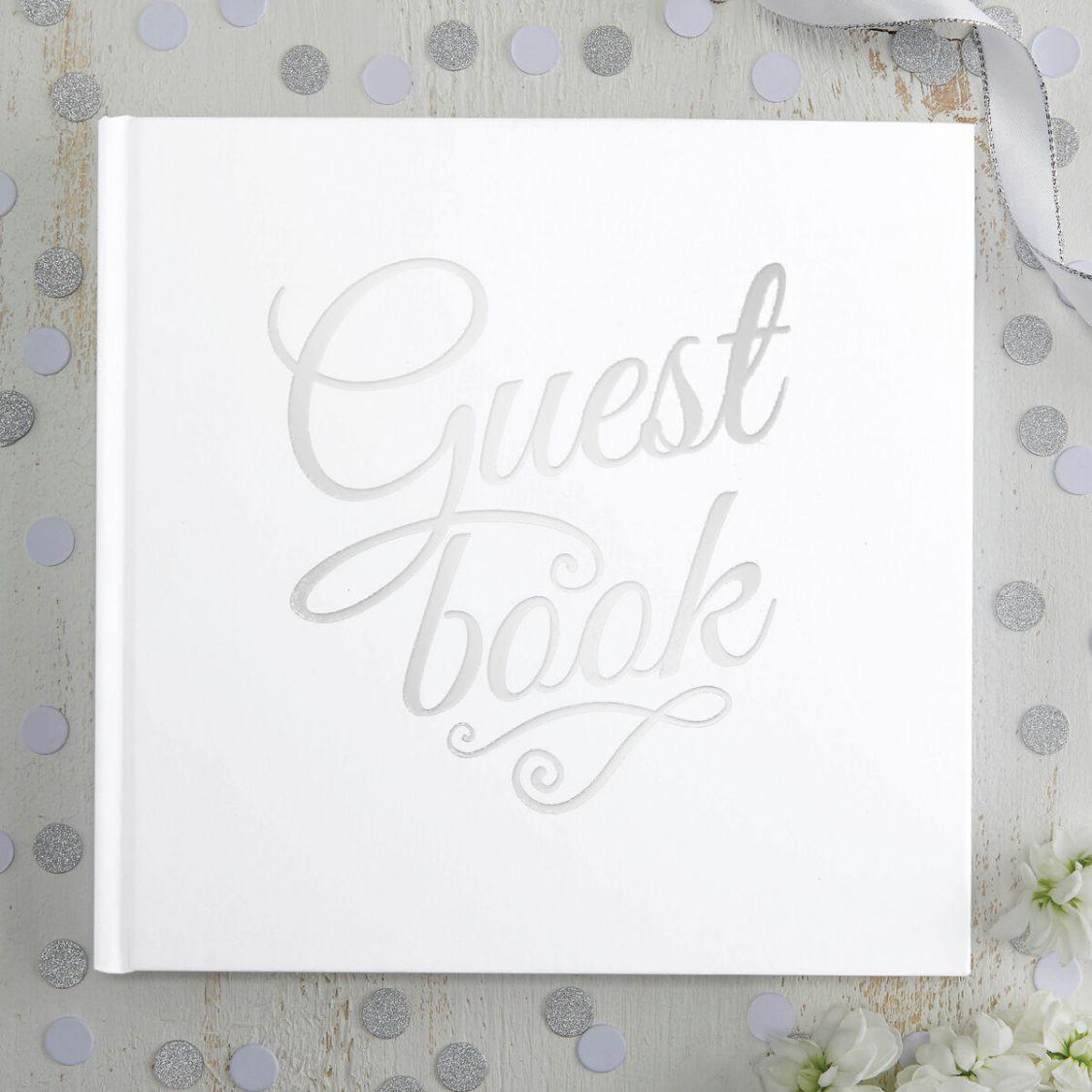 Gästebuch 'Guest Book' weiß / silber Hochzeit Hochzeitsalbum Hochzeitsgästebuch
