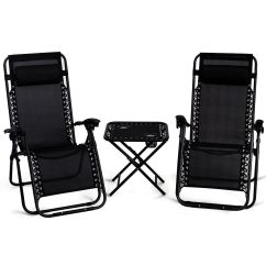 Reclining Patio Chairs And Table Cool Chaise Lounge Set Of 3 Cushion Recliner Folding Details About Zero Gravity