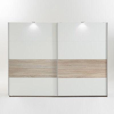 Schwebetürenschrank Kleiderschrank Bert in weiß Absetzung Eiche sägerau 225 cm