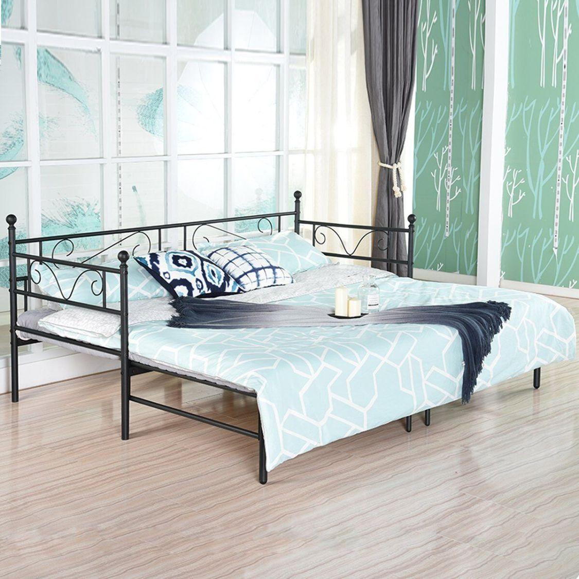 Tagesbett Ausziehbett Metall Single Sofa Optionen für Ausziehbett, Tagesbett mit