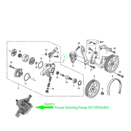 New Power Steering Pump for Honda Accord 2.3L L4 Sedan 98