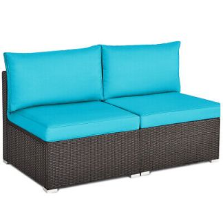 2PCS Patio Rattan Armless Sofa Sectional Furniture Conversation Set Turquoise
