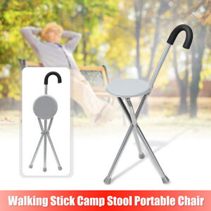 walking cane chair swimming pool chairs folding ebay portable travel stick seat camp stool for the old