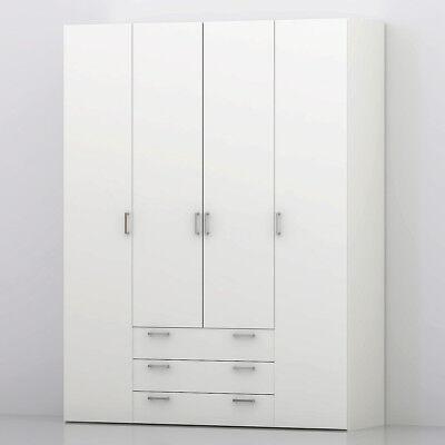 Kleiderschrank Suros Drehtürenschrank Schlafzimmer Schrank weiß 154 cm