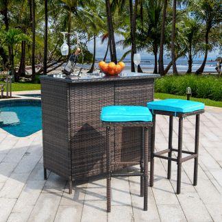 3pcs Patio Bar Set Outdoor Rattan Wicker Furniture table stools w/ Cushions Blue