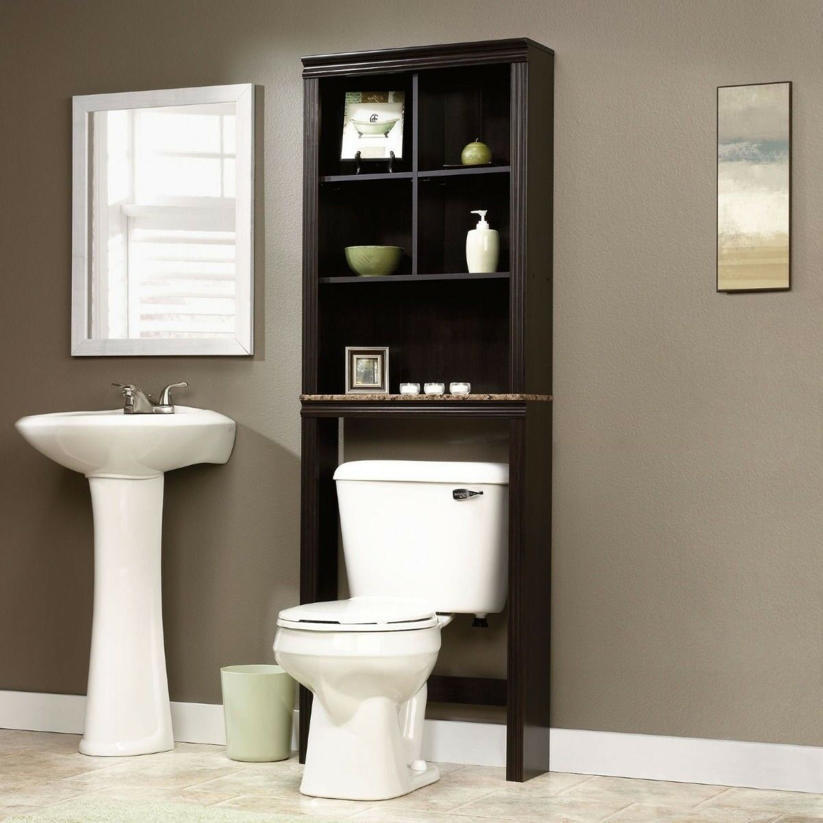 Bathroom Cabinet Over Toilet Shelf Space Saver Storage Adjustable Shelves Towels  eBay