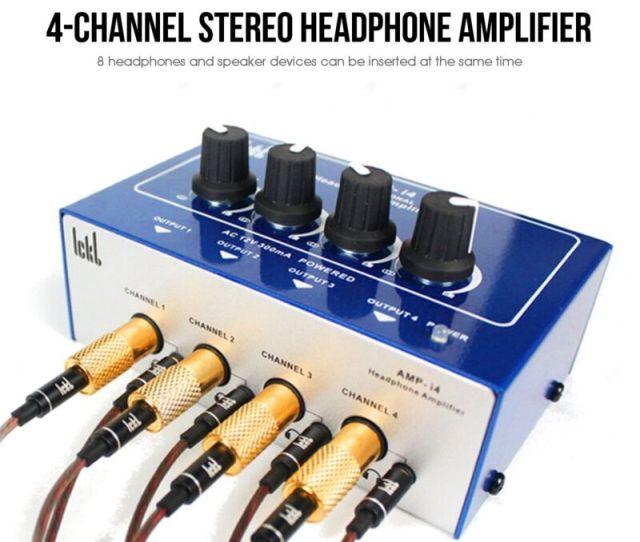 Mini Professional 4 Channel Earphone Headphone Audio Stereo Amp Amplifier Mixer