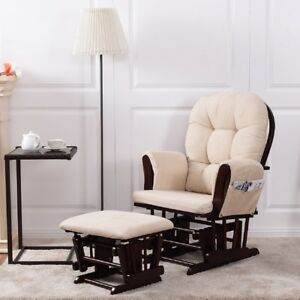 rocking chair ottoman cushions eames chairs replica glider rocker ebay baby nursery relax set w cushion beige