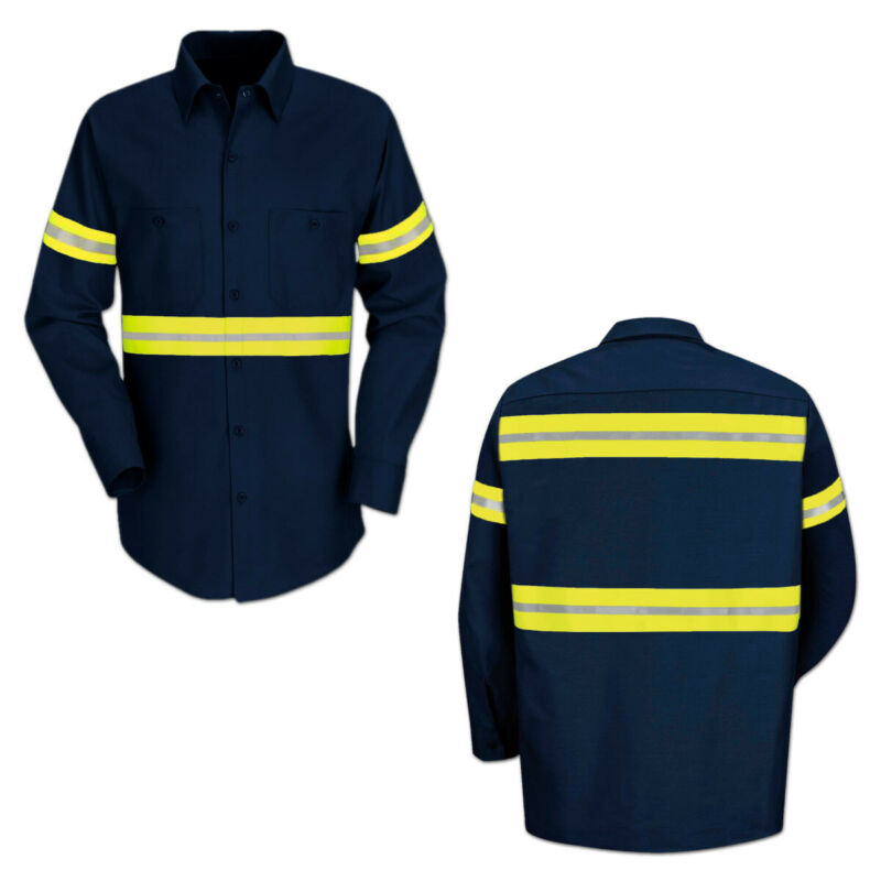 NEW Reed Reflective Enhanced Visibility Work Shirt Short Sleeve 2 Pockets HiVis Shirts Clothing. Shoes & Accessories thelendingtree.ae